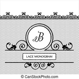BlacK lace monogram B - Letter B black lace monogram,...