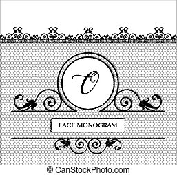 Black lace monogram O