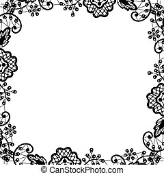 black lace on white background - Wedding invitation or...