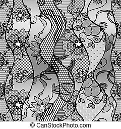 Black lace vector fabric seamless pattern with lines and waves