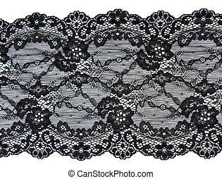 Black lace with pattern in the manner of flower on white...
