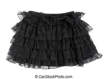 Black laced skirt isolated on white background