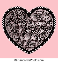 Black lacy heart on pink background