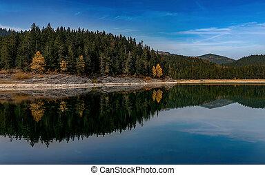 Black lake in Durmitor National Park, Montenegro