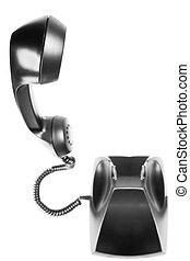 black landline phone on a isolated white background