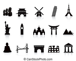 black landmark icons for travel design