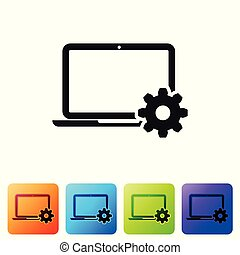 Black Laptop and gear icon on white background. Laptop service concept. Adjusting app, setting options, maintenance, repair, fixing laptop concept. Set icon in color square button. Vector Illustration