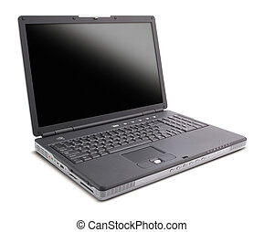 black laptop with black screen