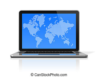 black Laptop computer isolated on white with worldmap on screen