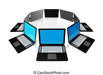 Black laptop computers isolated on white