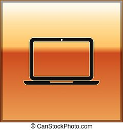 Black Laptop icon isolated on gold background. Computer notebook with empty screen sign. Vector Illustration