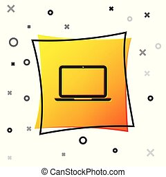 Black Laptop icon isolated on white background. Computer notebook with empty screen sign. Yellow square button. Vector Illustration
