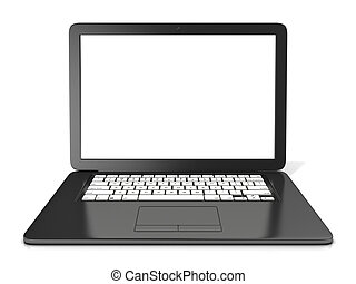 Black laptop with blank screen. 3D