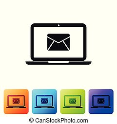Black Laptop with envelope and open email on screen icon isolated on white background. Email marketing, internet advertising concepts. Set icon in color square buttons. Vector Illustration