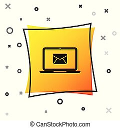 Black Laptop with envelope and open email on screen icon isolated on white background. Email marketing, internet advertising concepts. Yellow square button. Vector Illustration