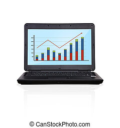 laptop with graph - black laptop with graph on screen