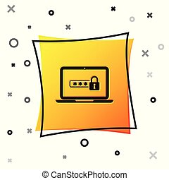 Black Laptop with password notification and lock icon isolated on white background. Concept of security, personal access, user authorization, login form. Yellow square button. Vector Illustration