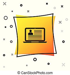 Black Laptop with resume icon isolated on white background. CV application. Searching professional staff. Analyzing personnel resume. Yellow square button. Vector Illustration