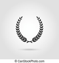 Black laurel silhouette foliate circular laurel wreath...