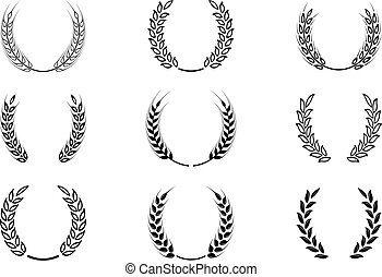 Black laurel wreath - a symbol of the winner. Wheat ears or rice icons set.
