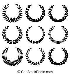 Black laurel wreaths 1 isolated on white backgrounds.