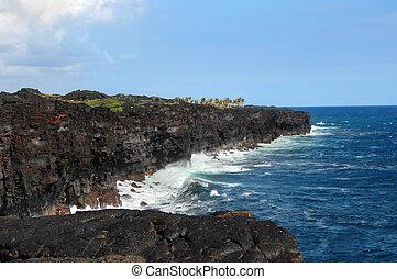 Black lava sea cliffs