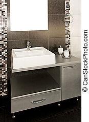 Black lavatory - Lavatory with black tiles and modern ...