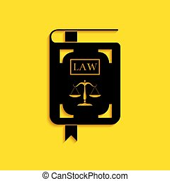 Black Law book statute book with scales of justice icon isolated on yellow background. Long shadow style. Vector