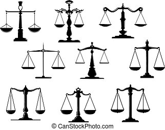 Black law scale icons with balance position isolated on ...