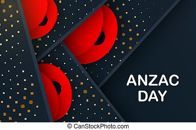 Black layers Vector Lest We Forget card. Craft Red Poppies ...