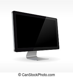 Black LCD monitor isolated for presentations in vector format
