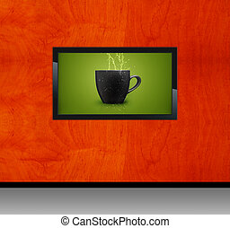 Black LCD tv screen hanging on a wall