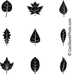 Black leaf icons set, simple style