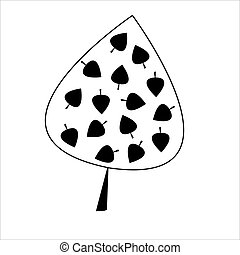 Black  leaf with  leaves on white background