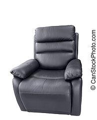 Black leather armchair.