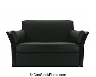 Black leather armchair isolated