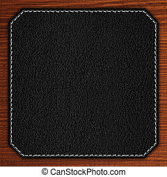 black leather background on wooden texture