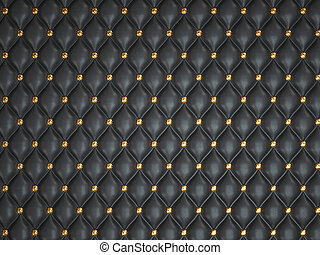 Black leather background with golden buttons. Useful as...