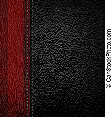 Black leather background with red leather strip. Vector...
