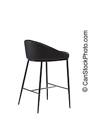 black leather bar stool isolated on white background. modern black bar chair back view. soft comfortable upholstered tall chair. interrior furniture element.