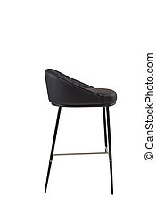 black leather bar stool isolated on white background. modern black bar chair side view. soft comfortable upholstered tall chair. interrior furniture element.