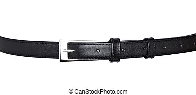 close up of a black leather belt on white background