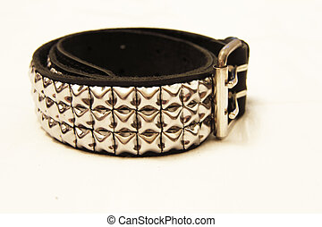 Black leather belt isolated on the white background