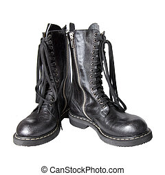 black leather boots isolated on white