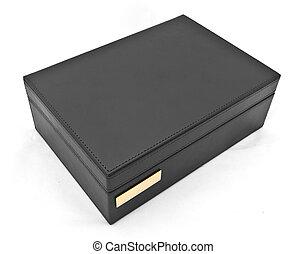 black leather box isolated on white background