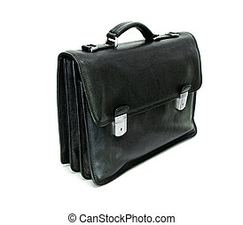 briefcase - black leather briefcase isolated on white