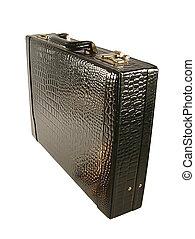 briefcase - black leather briefcase on white background