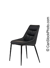 black leather chair isolated on white background. modern black stool front view. soft comfortable upholstered chair. interrior furniture element.
