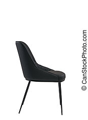 black leather chair isolated on white background. modern black stool side view. soft comfortable upholstered chair. interrior furniture element.