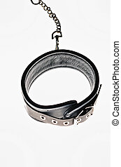 Black leather collar isolated on white background